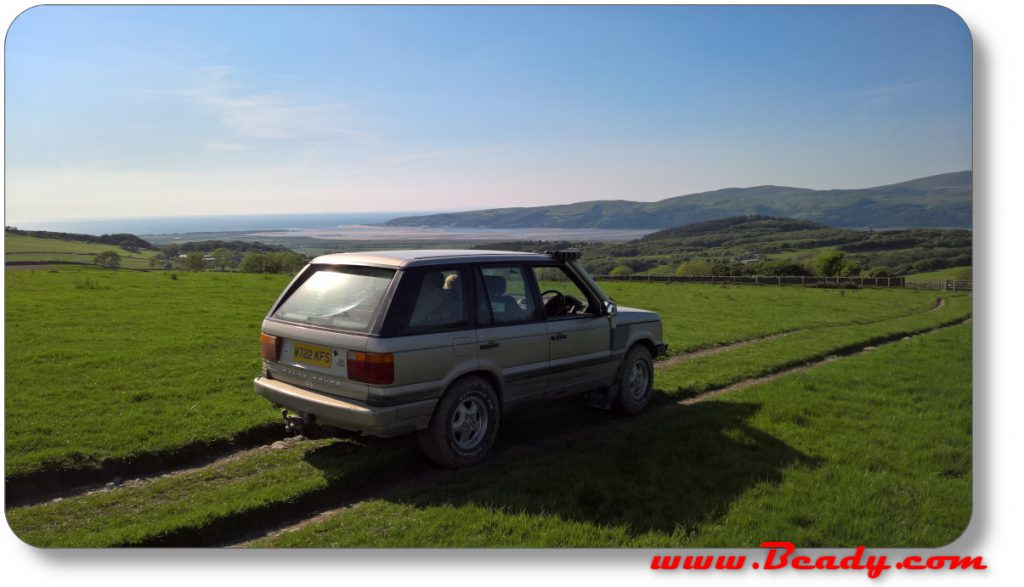 Barmouth area in range rover on mountain side
