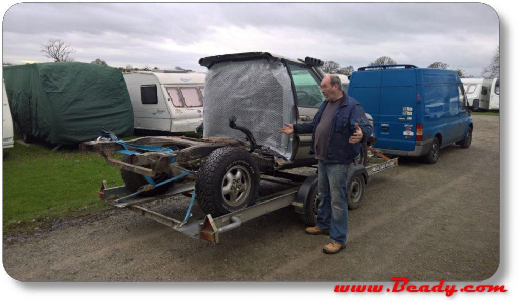 range rover chassis ready for sandblasting