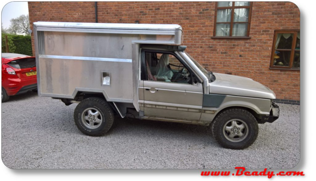bare alumium rear box on camper van range rover