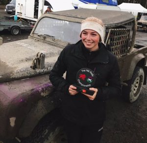 Chloe after her success in the Hill Rally Championship winning class 7