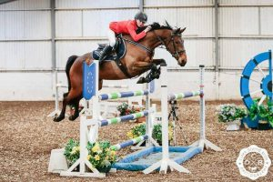 Chloe Jones and Clannad in the Winter Novice hickstead qualfier at the South View Development show.