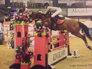 Chloe Jones and Tioren at the Scope Festival 2014 in the 1.10cm rider restricted championship.