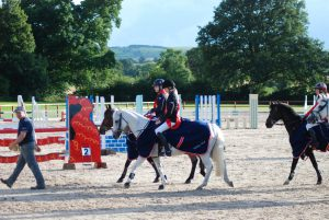Chloe and Cloughroe Lady Jane jumping double clear for the England 138cm team winning gold
