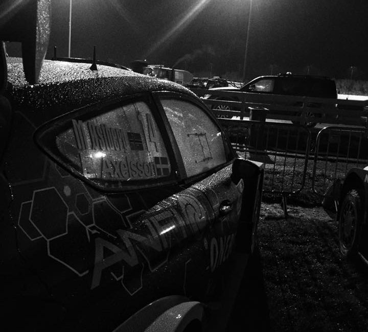 Car 14 parked up at Wales Rally GB on Thursday night.